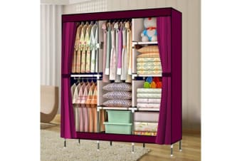 Large Portable Clothes Closet 3 rack in Burgundy