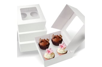 50 Pcs 4 Holes Cupcake Boxes with Window Face Cover Cases Inserts Party Event