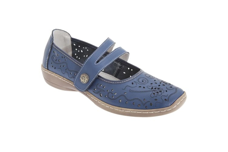 Boulevard Womens/Ladies Touch Fastening Perforated Bar Casual Leather Shoes (Blue) (7 UK)