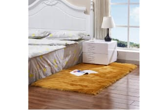 Super Soft Faux Sheepskin Fur Area Rugs Bedroom Floor Carpet Yellow 90X90CM