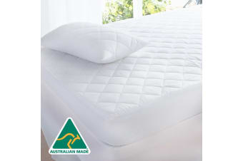 Cotton Quilted Aus Made Fully Fitted Mattress Protector -King Single