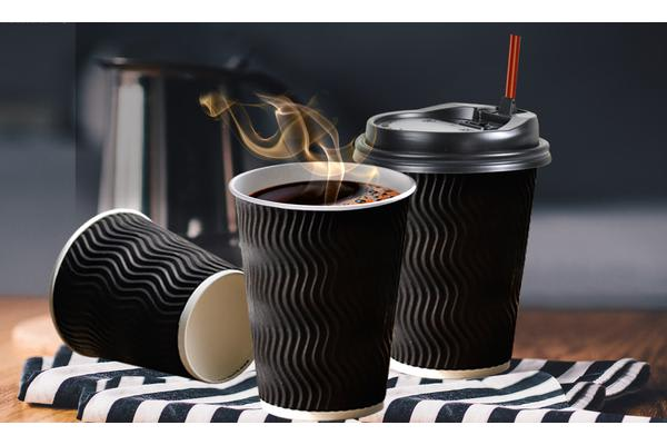 Disposable Coffee Cups Triple Wall 16oz 100pcs BLACK