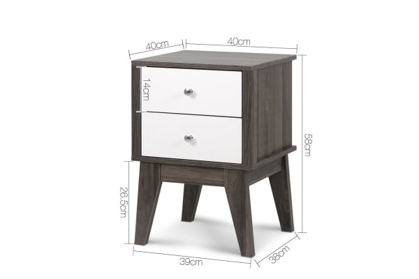 Bedside Table with Drawers (White/Grey)