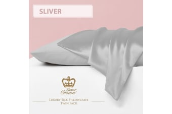 Two Mulberry Silk Pillowcases SLIVER