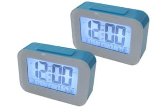 2X Smart Light Lcd Alarm Clock Backlit Display Portable Battery Operated Blue