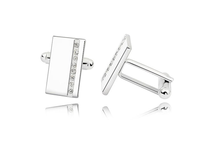 Mr. Cuffs Cufflinks Rectangle (Clear) Embellished with Swarovski crystals