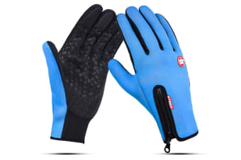 Outdoor Sport Gloves For Men And Women Skiing With Cold-Proof Touch Screen - 4 Blue M