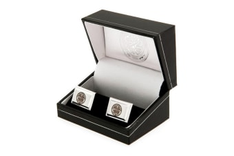 Celtic FC Mens Silver Plated Cuff-Links (Silver)