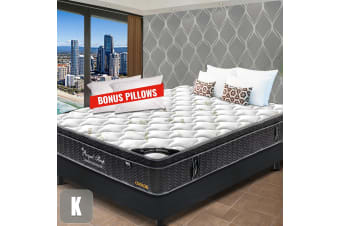 KING Mattress Euro Top 9 Zone Pocket Spring Latex Memory Foam Chiropractic 33CM