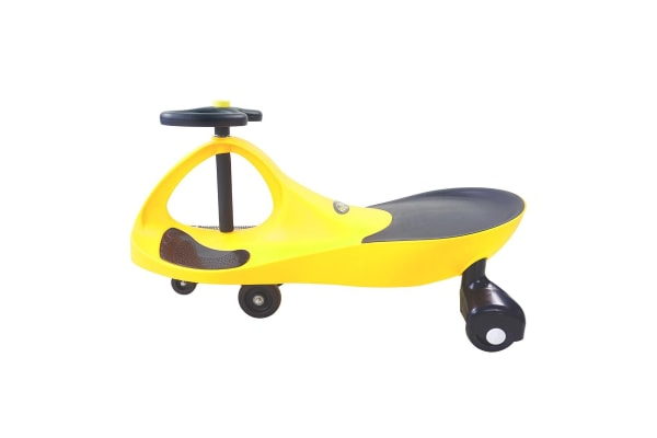 Kids Swing Car Slider Wiggle Scooter Swivel Ride on Toy w/Foot Mat- Yellow