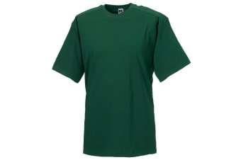 Russell Europe Mens Workwear Short Sleeve Cotton T-Shirt (Bottle Green) (4XL)