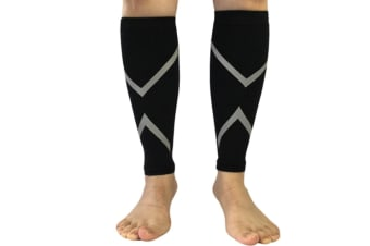 Reflective Calf Compression Sleeve for Men & Women (20-30mmhg) L