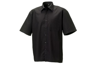 Russell Collection Mens Short Sleeve Pure Cotton Easy Care Poplin Shirt (Black)