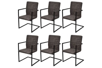 vidaXL Dining Chairs 6 pcs Cantilever Brown