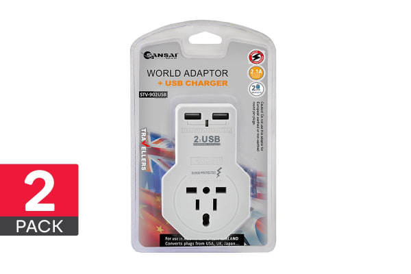 2-Pack Sansai 2.1A Travel Adapter with 2 USB Outlets (STV-902USB)