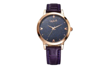 Select Mall Creative Stainless Steel and Leather Casual Quartz Watch Fashion Trend Cute Student Shiny Quartz Watch-Purple