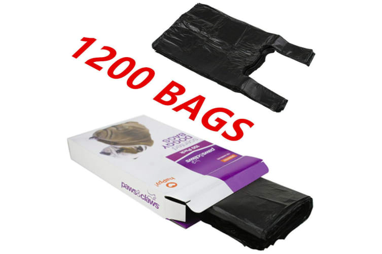 1200 x SCENTED DOG PUPPY POO POOP LITTER WASTE CLEAN UP DISPOSAL BAGS BLACK TIE HANDLES