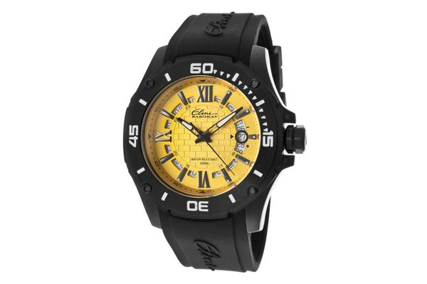 Elini Men's Artisan Gold Textured Dial Black Silicone (ELINI-10196-BB-07)