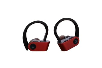 TWS-W2 Sport Earphone Bluetooth 5.0 Ear Hook Headsets Microphone for iPhone & Android - Red (AU Stock)