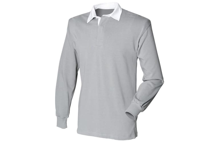 Front Row Mens Long Sleeve Sports Rugby Shirt (Slate Grey) (XL)