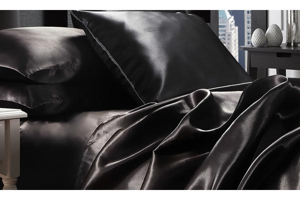 Luxury Super Soft Silky Satin Fitted/ Flat Sheet Pillowcases Bed Set BLACK Single