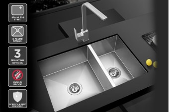 Kromo Vironia 250D Double Bowl Kitchen Sink (Drop-in/Flush/Undermount)