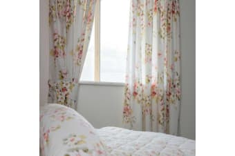 Belledorm Cherry Blossom Lined Curtains (Ivory) (168 x 137cm)