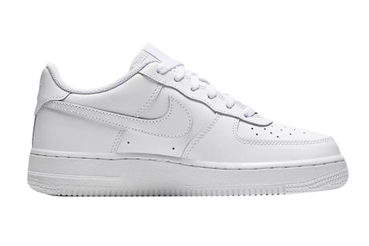 Nike Air Force 1 (GS US) Boys' Shoe (White/White/White, Size 5Y US)
