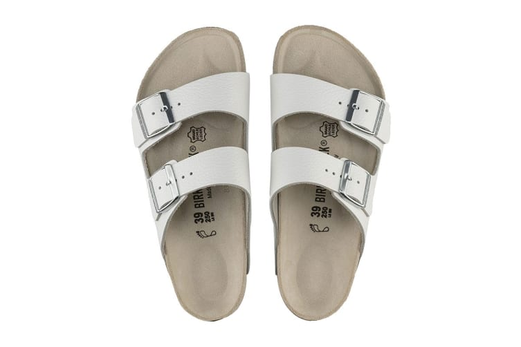 Birkenstock Unisex Arizona Smooth Leather Sandal (White, Size 41 EU)