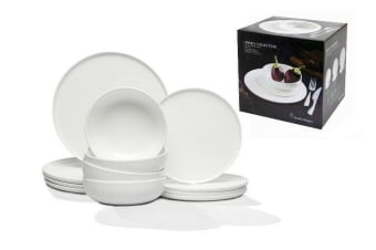 Stanley Rogers Linea Collection White Dinner Set Porcelain China Dinner 12 piece