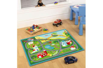 Kids Non Slip Road Map Beach Rug Blue 150x100cm