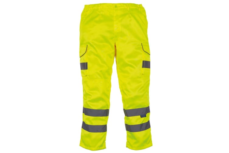 Yoko Mens Hi Vis Polycotton Cargo Trousers With Knee Pad Pockets (Pack of 2) (Yellow) (30L)