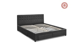 Queen Fabric Bed Frame with Storage Drawers (Grey)
