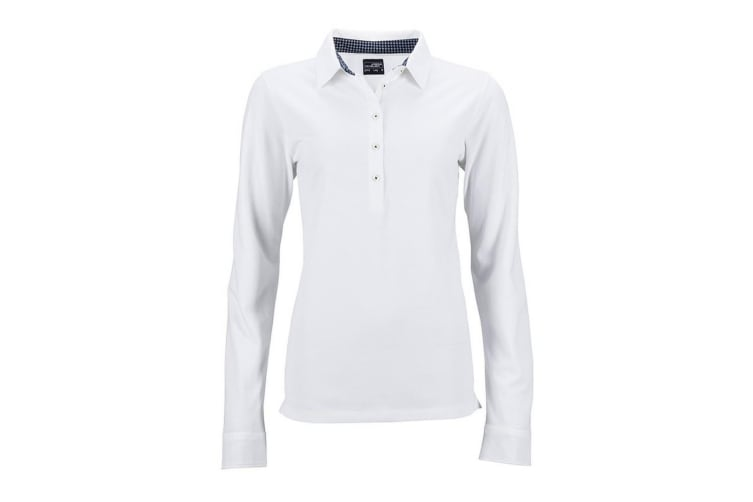 James and Nicholson Womens/Ladies Long-Sleeve Polo (White/Navy) (S)