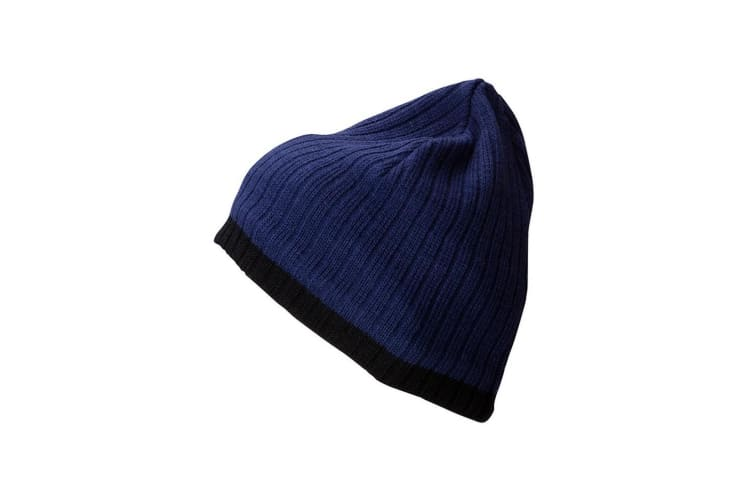 Myrtle Beach Adults Unisex Knitted Hat (Ink Blue/Black) (One Size)