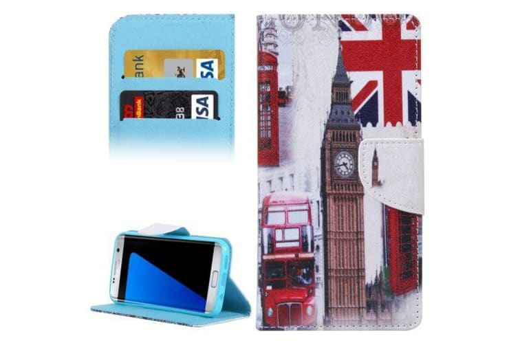 For Samsung Galaxy S7 EDGE Wallet Case Symbols of Britain Leather Cover