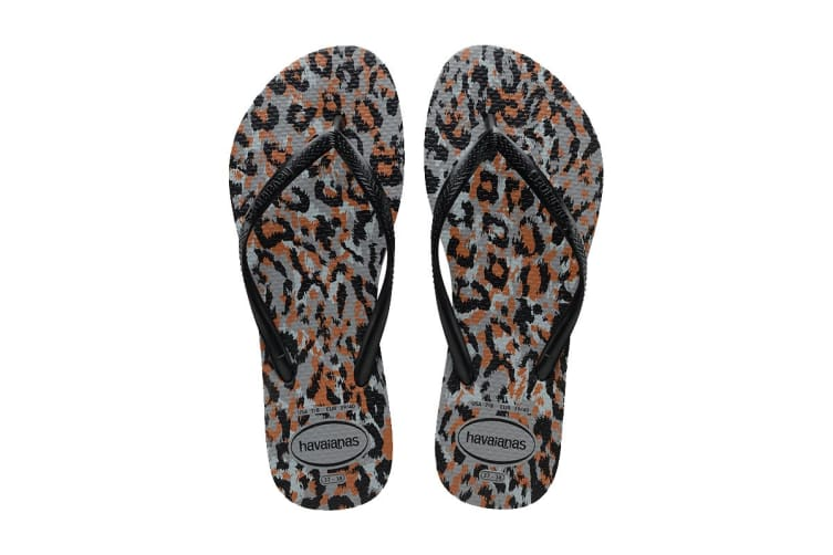 Havaianas Slim Animals Thongs (Steel Grey/Black, Size 39/40 BR)