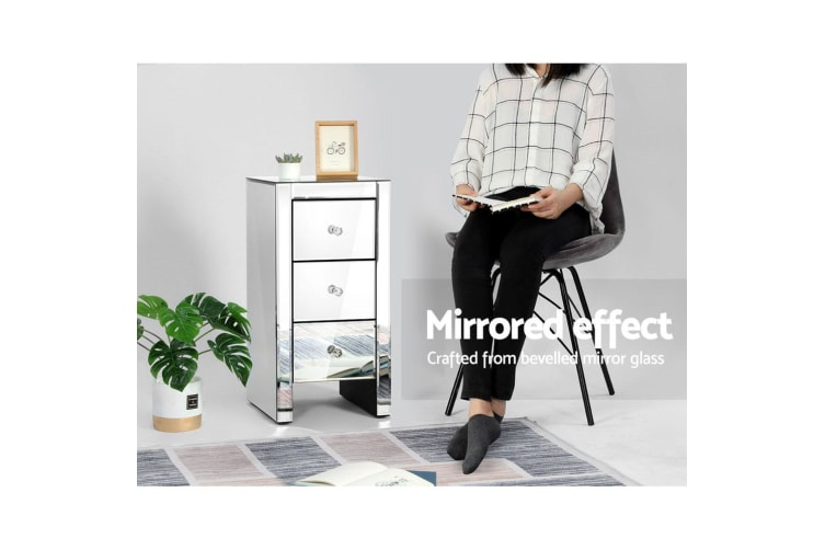 Mirrored Furniture Bedside Tables Table Chest Drawers Nightstand