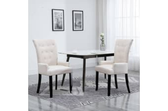 vidaXL Dining Chair with Armrests 2 pcs Beige Fabric