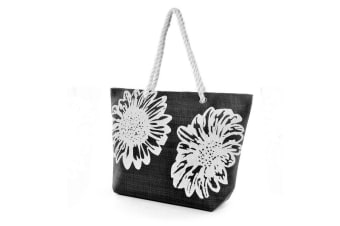 Womens/Ladies Floral Print Woven Summer Handbag (Black) (One Size)