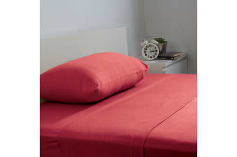 Bambury BedT Sheet Set - 100% Cotton Jersey - 35cm Deep - Ruby - Single