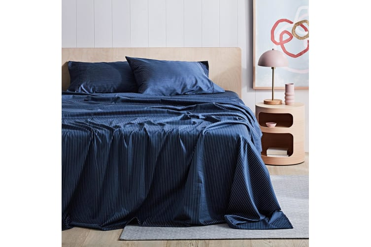 Canningvale 1000TC Sheet Set - Queen Bed - Palazzo Linea  Eclipse Blue with Crisp White Stripe