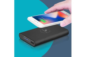 2IN1 Qi Wireless Charger 10000mAh Fast Charging Pad For iPhone Samsung Android BLACK