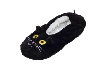 Foxbury Womens/Ladies Cat Slipper Socks (Black)
