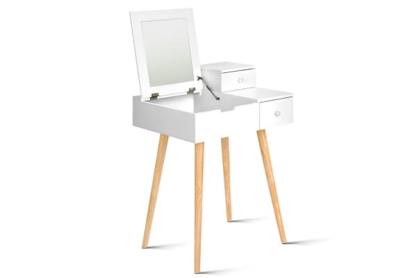 Superbe Dressing Table With Foldaway Mirror With Drawers (White)