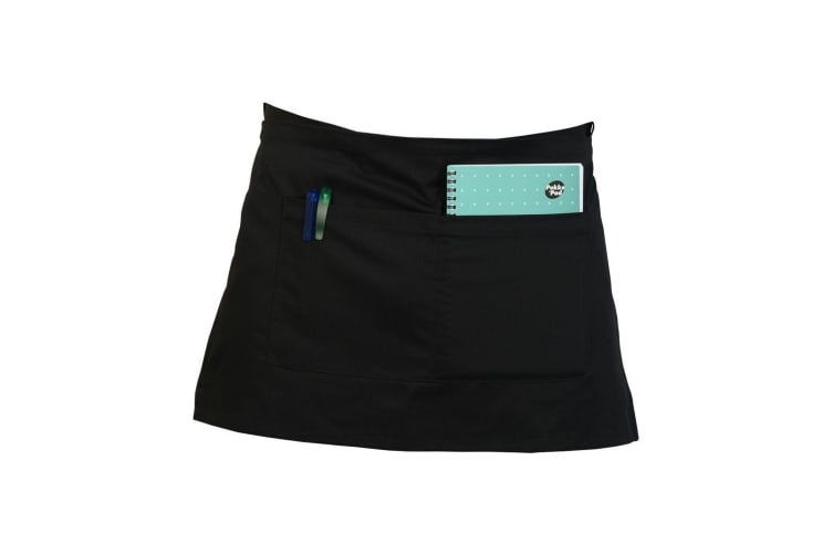 Absolute Apparel Adults Workwear Waist Apron With Pocket (Pack of 2) (Black) (One Size)