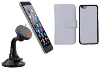 TODO Magnetic Quick Snap Car Suction Mount Leather Credit Card Case Iphone 6 - White