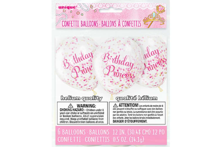 Unique Party 6 Clear 12 Inch Birthday Princess Confetti Balloons (Pink) (12 inches)