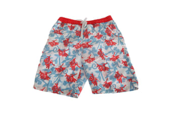 Soulstar Mens Bright Floral Patterned Long Board/Swim Shorts (Coral/Blue)