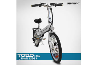 Folding Electric Bike 36V 9Ah 250W Motor Pedal Assist Shimano Gears Pas Bicycle White
